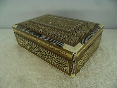 Antique Indian Inlaid Ebony Bone & Mother of Pearl Cigar or Jewellery Box