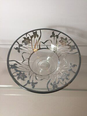 Vintage Sterling Silver Overlay on Glass Footed Bowl