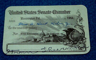 STROM THURMOND issued UNITED STATES SENATE CHAMBER Pass @ 87th Congress 1962
