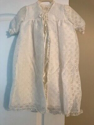 Madonna Haddad Christening Slip Dress Coat Bonnet Shoes Eyelet Lace Blanket Set