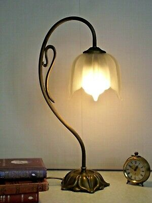 French Vintage Brass Goose Neck Lamp Leaf Shaped Base & White Opaque Shade 1391