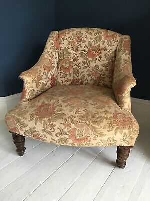 Victorian Nursing Chair - Small Armchair - Bedroom Chair on Castors
