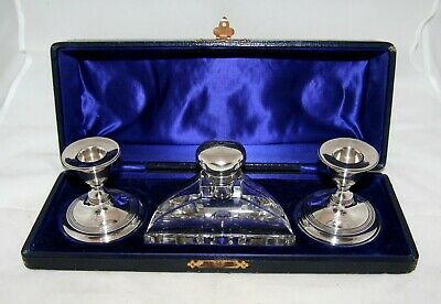 Antique George V Silver & Glass Moroccon Leather Cased Desk Set - Chester 1911