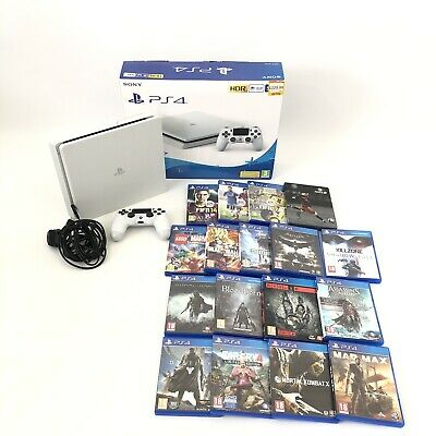 Boxed Sony Playstation 4 PS4 White Slim 500GB Console & Large 17 Game Bundle