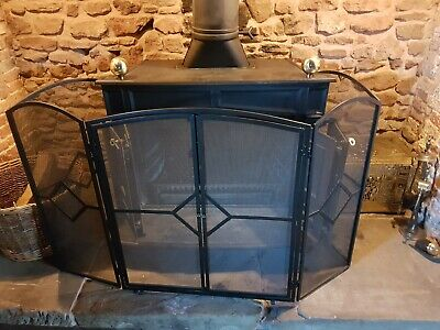 62cm Tall Midnight Black Domed Fireplace Spark Guard or Fire Screen