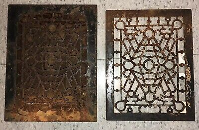Vintage Antique Cast Iron Heating Duct Grate Matching Pair Floor Art Deco