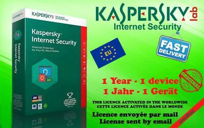KASPERSKY INTERNET SECURITY 2019 1 Device 1year SEND KEY CODE BY MAIL (GARANTED)