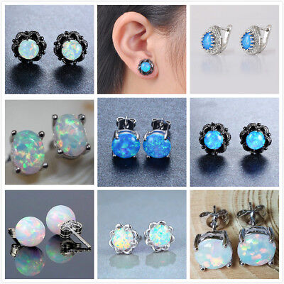 Fashion 925 Silver Blue Opal Earrings Ear Stud Wedding Women Jewelry Earrings