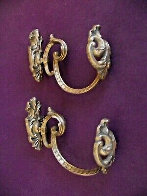 Old Pair Antique 19th Century French Rococo Bronze Ornate Tie Back Hooks 1013