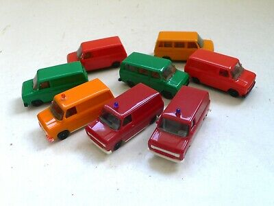 1970's Set of 8 Herpa Auto Modelle Car Models 1:87 Scale HO FORD TRANSIT