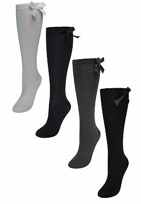 Girls Plain Knee High School Cotton Rich Socks With Bow White, Grey,Navy, Black