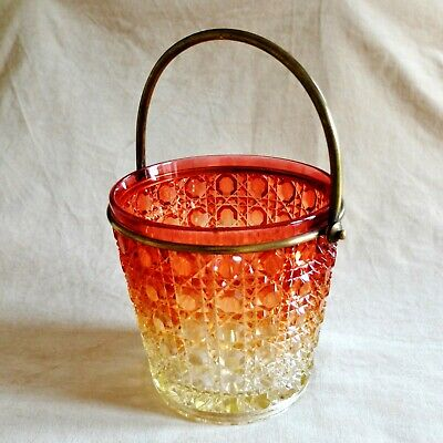 ANTIQUE BACCARAT AMBERINA GLASS ICE BUCKET Victorian Hobnail Cut Wine Cooler