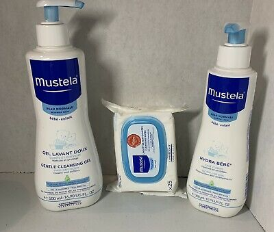 Mustela  Trio-Baby -Gentle Cleansing Gel  Body lotion Cleansing Wipes