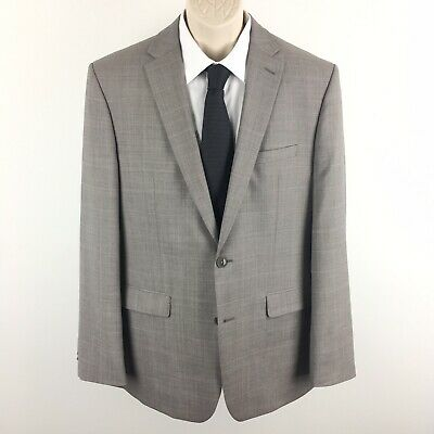 Vince Camuto Men's Gray Windowpane Plaid Classic Wool Blazer Size 42 Long 42L