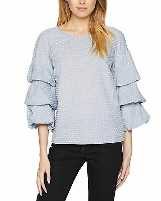 Kensie Womens Blue Tie Sleeve Ribbed Knit Blouse Pullover Top Shirt L BHFO 8189
