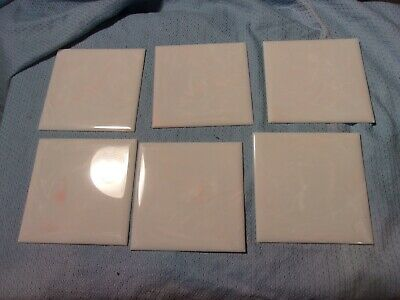 Mid Century PATRICIAN PINK WHITE MARBLE PLASTIC WALL TILE 5 SQ FT 40 PIECES  NOS