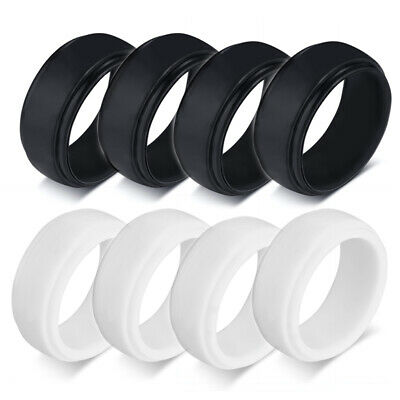 4pcs Lot Men Wedding Ring Silicone Rubber Band Step Edge for Athletes Size 7-13