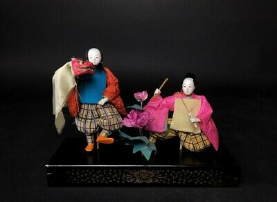 2 Antique NINGYO Japanese Dolls Playing Drums SHISHIMAI Lion Dance