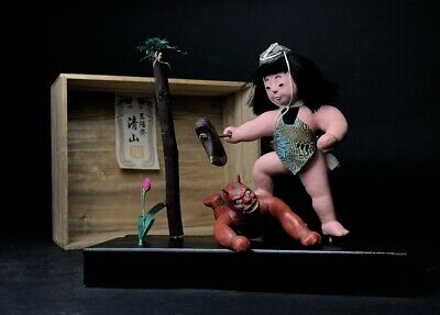 2 Antique NINGYO Japanese Dolls Boy KINTARO Defeats the Red Demon AKAONI