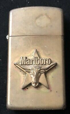 VINTAGE 1992 ZIPPO Slim Solid Brass Marlboro Longhorn Bull and Star Lighter