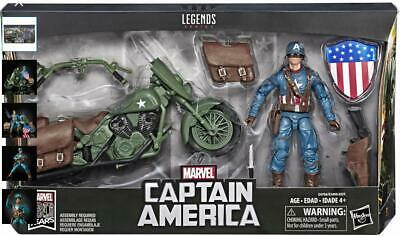 """Marvel Legends 80th WWII Captain America + Motorcycle 6"""" Figure Vintage Avengers"""