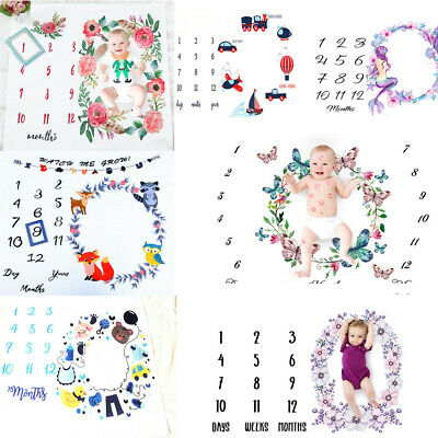 Newborn Baby Girls Boys Blanket Monthly Milestone Photography Photo Props Cloth