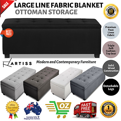 Large Blanket Box Ottoman Storage Linen Fabric Leather Foot Stool Toy Chest Toy