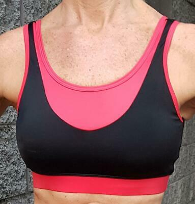 Black & Red Sports Bra| Med Support Workout Yoga Gym Running