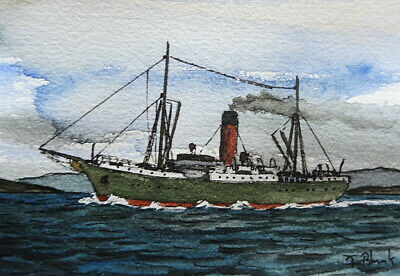 "ORIGINAL AQUARELL - Dampfer ""Rotomahana""."