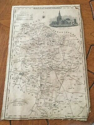 Genuine Original County Map Pigot &co. 1823-8 - Huntingdonshire-Rare