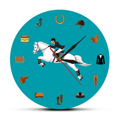 Equestrian Sport Equipment Set Wall Clock Horse Riding Gear Tack Accessory Watch