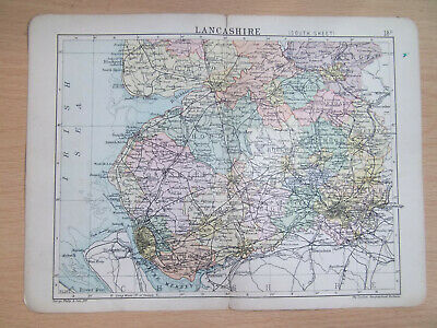 LANCASHIRE SOUTH + RAILWAYS ANTIQUE BARTHOLOMEWS  MAP DATE 1890  APPROX 7inx 9in
