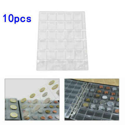 10pcs Plastic 20 Pockets Coin Album Pages For Coin Holders Or Wallets Suitable
