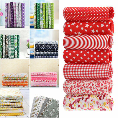 7x 25*25cm Cotton Fabric DIY Assorted Squares Pre-Cut Quilt Quarters Bundle Set