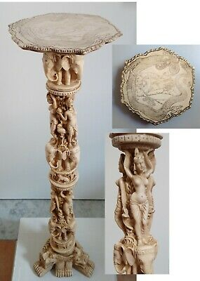 Column Pedestal Plant Stand Italy Vintage Round Carved Resin Oriental Asian