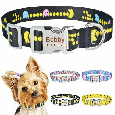 Small Large Personalised Dog Collar Custom Engraved Name ID Tag Boy Girl Dogs