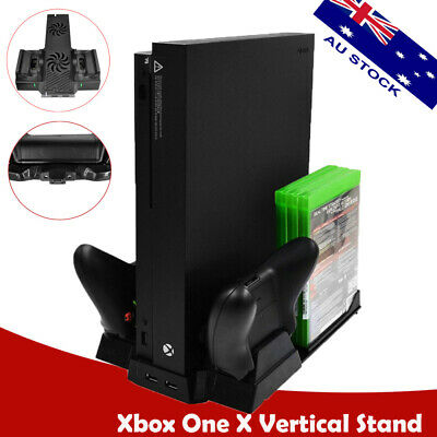 Xbox One X Cooling Fan Cooler Vertical Stand 2 Controller Charging Dock Station