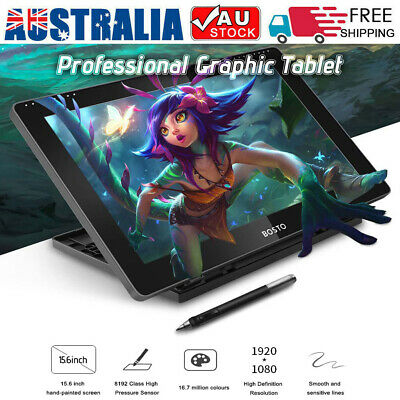 """BOSTO HD 15.6"""" IPS Graphics Drawing Tablet Monitor with Rechargeable Stylus Pen"""