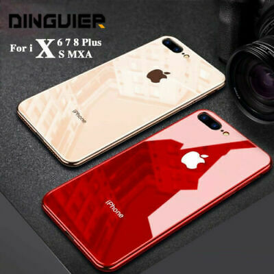 For iPhone X XS MAX XR 8 7 Plus Luxury Shockproof Hard Tempered Glass Case Cover