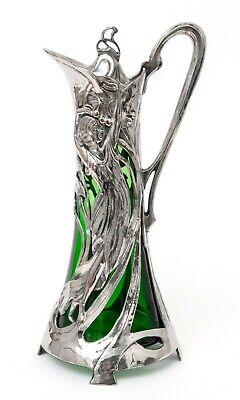 Antique WMF Warszawa Silver Plated Art Nouveau Large Green Glass Claret Jug