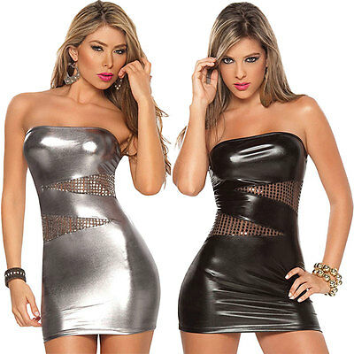 Women Sleeveless Hot Sexy Patent Leather Bodycon Strapless Lure Stripper Dress