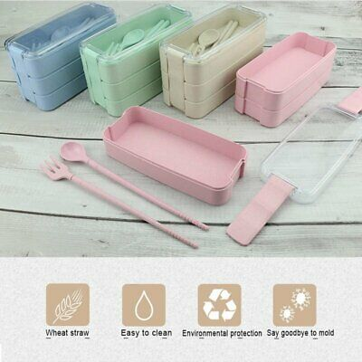 900ml 3 Layers School Picnic Thermal Insulated Lunch Box Bento Food Container AU