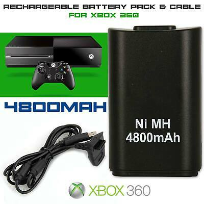 XBOX Black 360 Controller 4800mAH Rechargeable Battery Play Charge Kit Cable UK