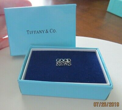Tiffany & Co Sterling Silver Good News Religious Tie Tac Tack Lapel Pin In Box