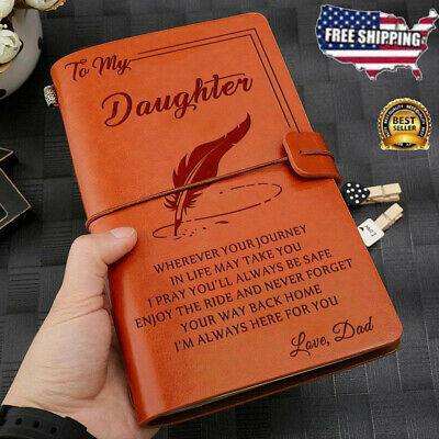 To My Daughter Where Ever Love Dad Engraved Leather Journal Notebook Diary Gift