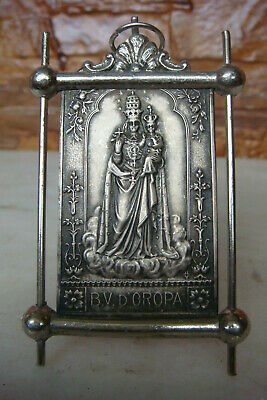 Antique Italy Xix Century Our Lady Of Oropa Bronze Silvered Rare Religious Icon
