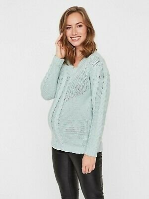 Mamalicious Maternity Jumper Sweater Aqua Cable Knit Pregnancy RRP £32