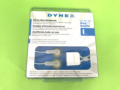 Dynex Ear Bud Headphones for iPod Shuffle DX-SHHP White Color New!  #5258