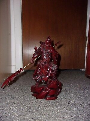 "10"" Chinese Fengshui Guan Gong Yu Warrior God Dragon Guangong Sword Resin Statue"