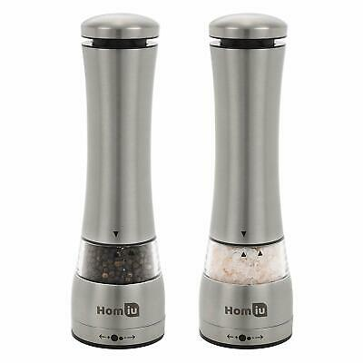 HOMIU -  Illuminated Electronic Stainless-Steel, Salt & Pepper Mill, Grinder Set